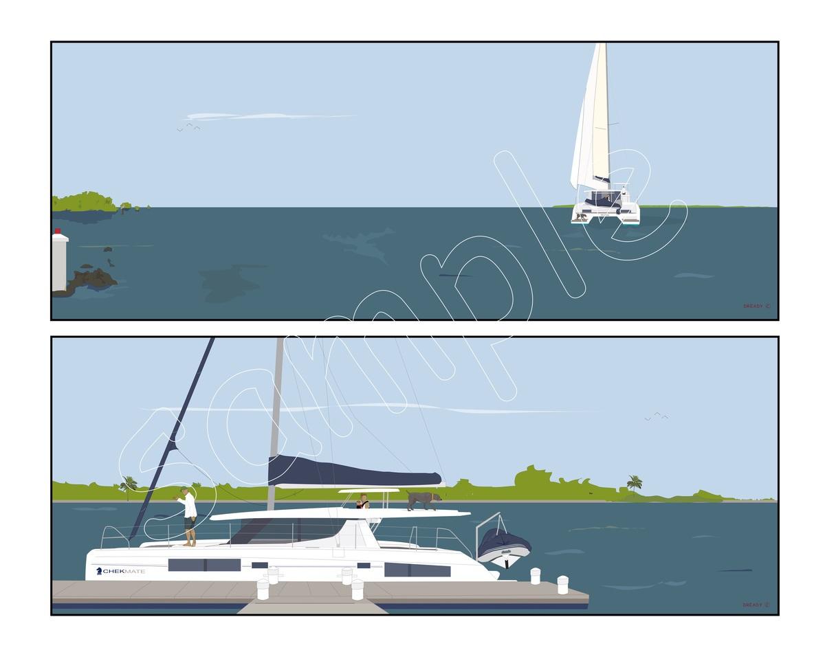 Dready, Dready Art and Everything Dready dready catamaran diptych 36x14x2 commission